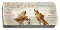 A Victorian Christmas Card Of Two Birds Looking At A Poster Of A Bag Of Birds For Christmas Portable Battery Charger