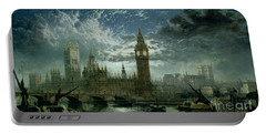 A View Of Westminster Abbey And The Houses Of Parliament Portable Battery Charger