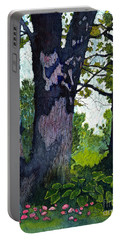 A View Through The Trees Watercolor Batik Portable Battery Charger