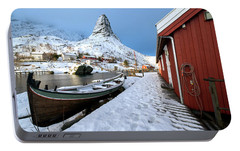 Portable Battery Charger featuring the photograph A Village Lofoten by Dubi Roman