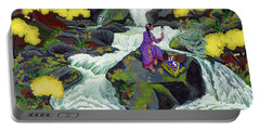Portable Battery Charger featuring the painting A Visit From Whirlwind by Chholing Taha