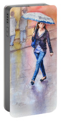 Portable Battery Charger featuring the painting A Walk In The Rain by Bonnie Rinier