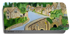 A Walk Through A Village In The English Cotswolds Portable Battery Charger by Magdalena Frohnsdorff