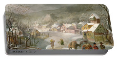 A Winter Landscape With Travellers On A Path Portable Battery Charger by Denys van Alsloot