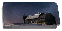 Portable Battery Charger featuring the digital art A Winter Night On The Farm by Judy Johnson