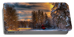 A Winter Sunset Portable Battery Charger by David Patterson