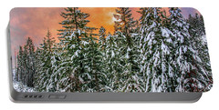 A Winters Sky Set Ablaze Portable Battery Charger