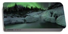 A Wintery Waterfall And Aurora Borealis Portable Battery Charger