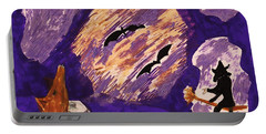 A Witch A Bat And A Howling Dog Portable Battery Charger