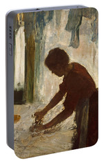 Portable Battery Charger featuring the painting A Woman Ironing by Edgar Degas