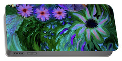 A Womans Touch With Her Flowers Portable Battery Charger