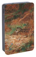 A Woodcock And Chick In Undergrowth Portable Battery Charger by Archibald Thorburn