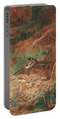 A Woodcock And Chick In Undergrowth Portable Battery Charger