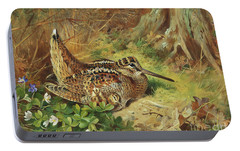 A Woodcock And Chicks Portable Battery Charger by Archibald Thorburn