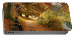 A Wooded Path In Autumn Portable Battery Charger