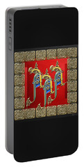 A A A - Ancient Celtic Monogram On Red And Black Portable Battery Charger