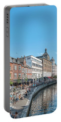 Portable Battery Charger featuring the photograph Aarhus Summertime Canal Scene by Antony McAulay