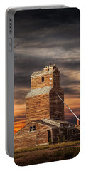 Abandoned Grain Elevator On The Prairie Portable Battery Charger by Randall Nyhof