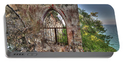 Abandoned Places Iron Gate Over The Sea - Cancellata Sul Mare Portable Battery Charger