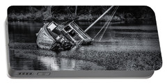 Abandoned Ship In Monochrome Portable Battery Charger