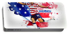 Abby Wambach Portable Battery Charger by Semih Yurdabak