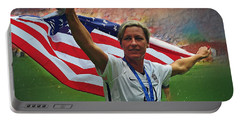 Abby Wambach Us Soccer Portable Battery Charger by Semih Yurdabak