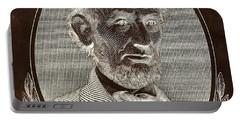 Portable Battery Charger featuring the photograph Abe On The 5 B W Inverted Brown by Rob Hans