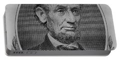 Portable Battery Charger featuring the photograph Abe On The 5 B W by Rob Hans