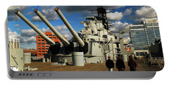 Aboard The Uss Wisconsin Portable Battery Charger by James Kirkikis