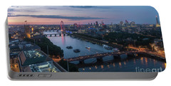 Above London Along The Thames At Dusk Portable Battery Charger