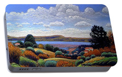 Portable Battery Charger featuring the painting Above San Mateo by Gary Coleman