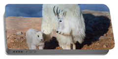 Above The Clouds. Mother And Kid - A Young Rocky Mountain Goat Stands Inquisitively Next To Its Mom Portable Battery Charger