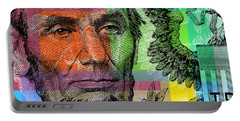 Portable Battery Charger featuring the digital art Abraham Lincoln - $5 Bill by Jean luc Comperat