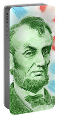 Portable Battery Charger featuring the drawing Abraham Lincoln  by Yoshiko Mishina