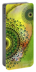 Portable Battery Charger featuring the painting Abstract Acrylic Art The Garden by Saribelle Rodriguez