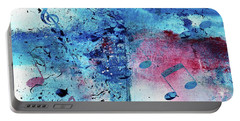 Portable Battery Charger featuring the painting Abstract Acrylic Painting Music Notes II by Saribelle Rodriguez