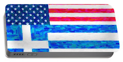 Portable Battery Charger featuring the painting Abstract American Greek Flag by Celestial Images