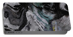 Portable Battery Charger featuring the painting Abstract And Minimalist Acryling Painting In Gray Color by Ayse Deniz