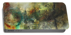 Abstract Art With Blue Green And Warm Tones Portable Battery Charger