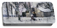 Abstract Barn In Winter Snow Portable Battery Charger