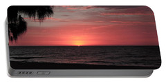 Abstract Beach Palm Tree Sunset Portable Battery Charger