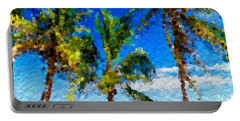 Portable Battery Charger featuring the mixed media Abstract Beach Palmettos by Anthony Fishburne