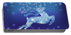 Abstract Blue Christmas Reindeer Portable Battery Charger
