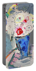 Abstract Blue Vase Of White Bouquet Of Flowers Portable Battery Charger