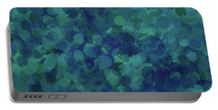 Portable Battery Charger featuring the mixed media Abstract Blues 1 by Clare Bambers