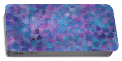 Portable Battery Charger featuring the mixed media Abstract Blues Pinks Purples 3 by Clare Bambers