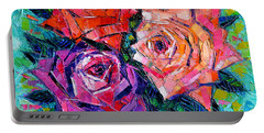 Abstract Bouquet Of Roses Portable Battery Charger by Mona Edulesco