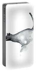 Abstract Cat Watercolor Painting, Grumpy Cat Lover Gift  Portable Battery Charger