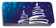 Abstract Christmas Trees Blue Christmas Portable Battery Charger by Serena King