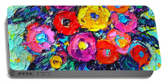 Abstract Colorful Wild Roses Modern Impressionist Palette Knife Oil Painting By Ana Maria Edulescu  Portable Battery Charger